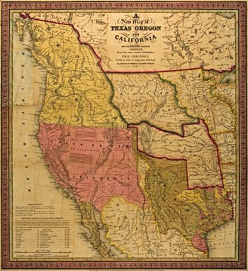 A New map of Texas, Oregon and California with the regions