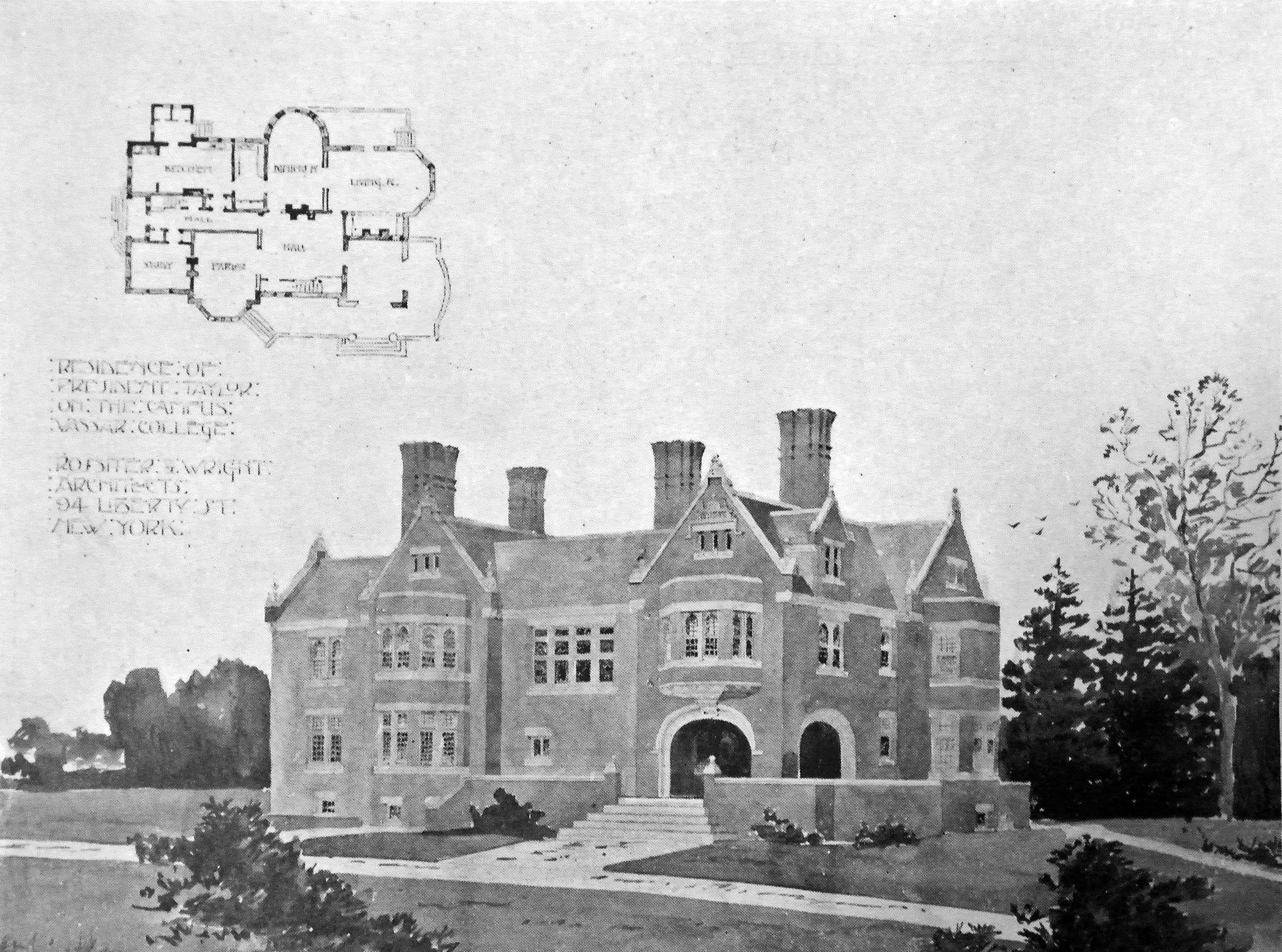 The architect's rendering of the medieval revival style President's House