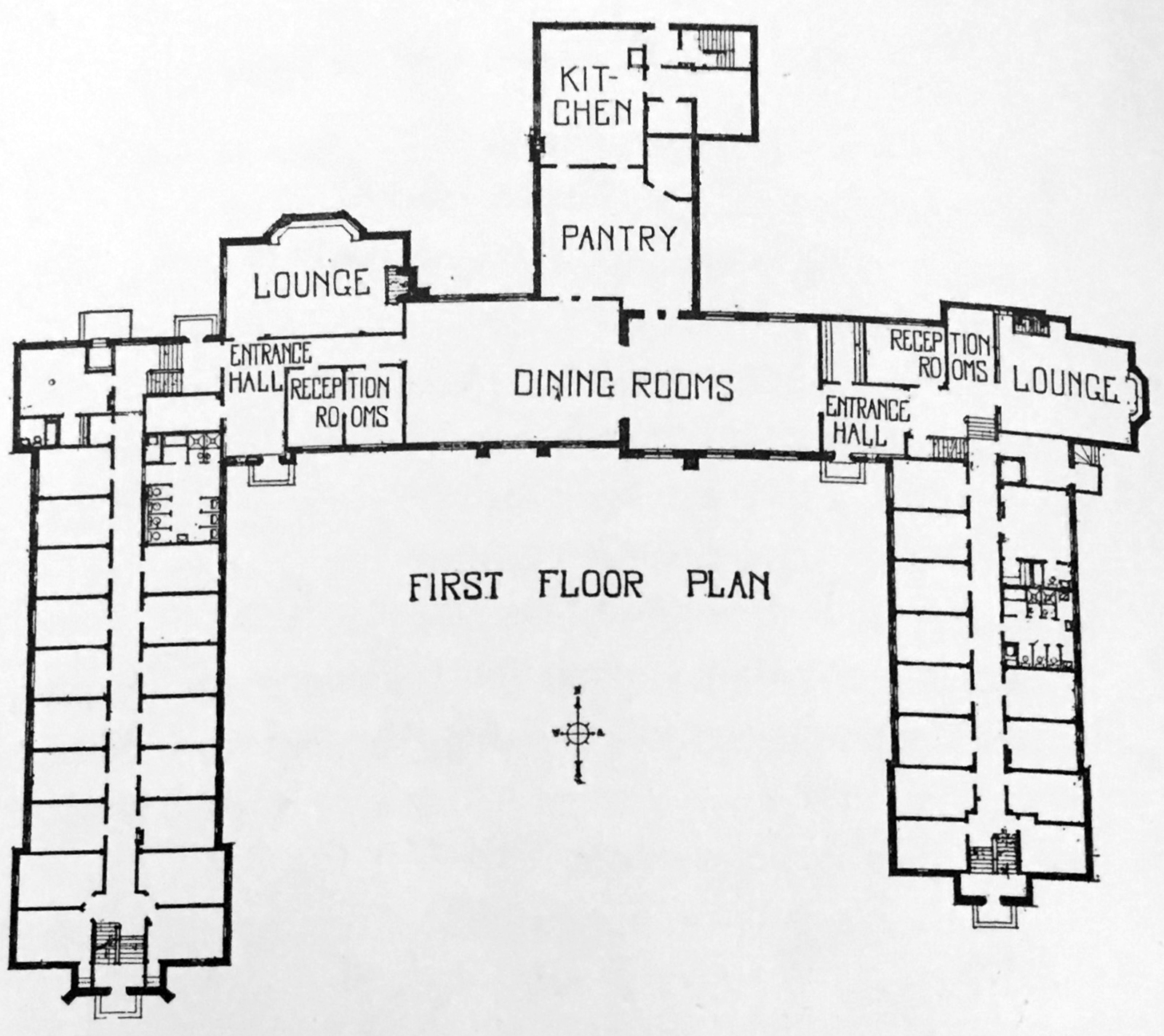 The original symmetrical layout of Cushing House