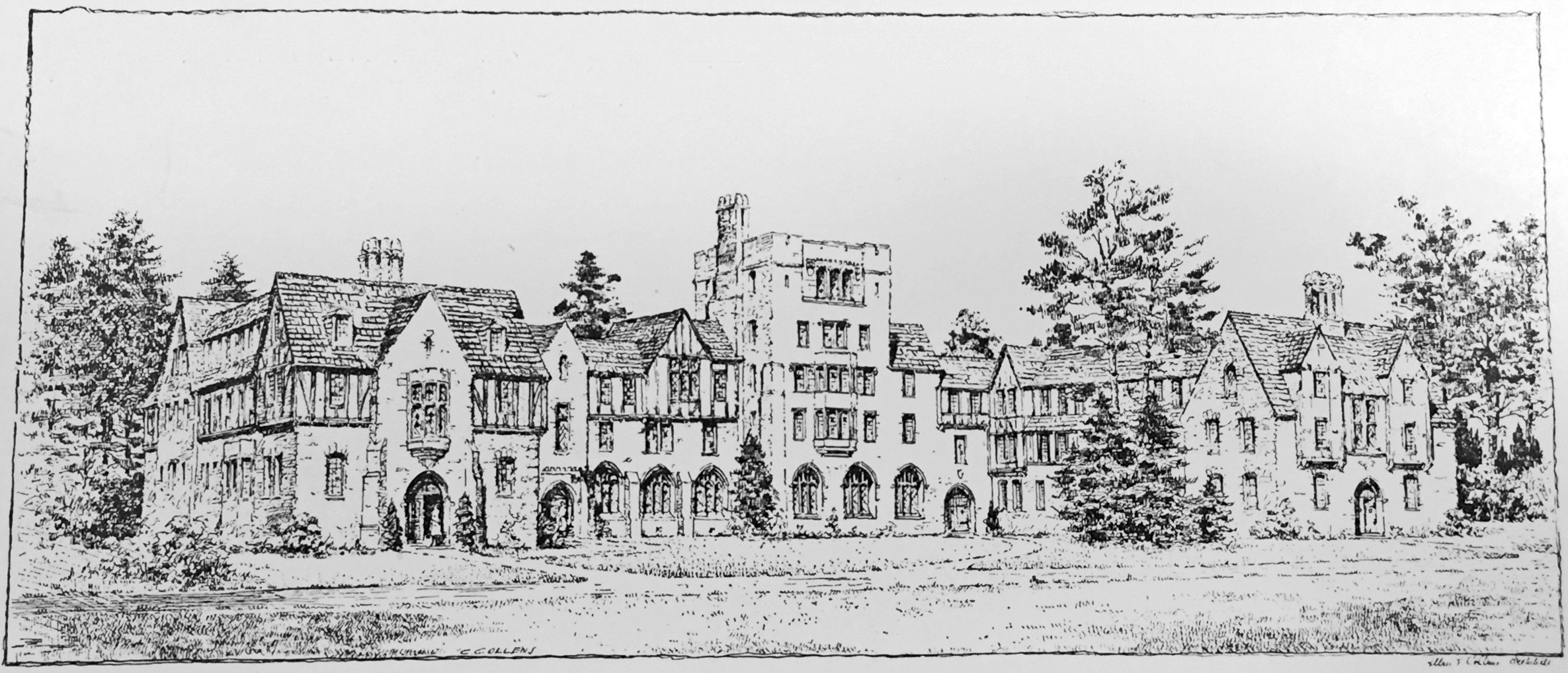 Charles Collens's sketch of the proposed hall in the English 16th century style