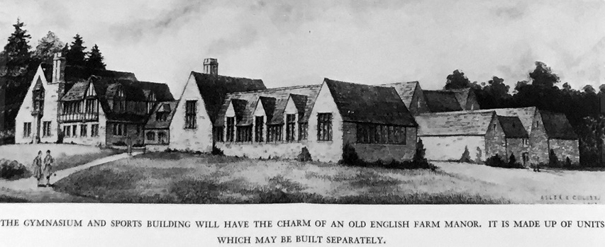 The original plan for Kenyon Hall suggested an English rural grouping of buildings.