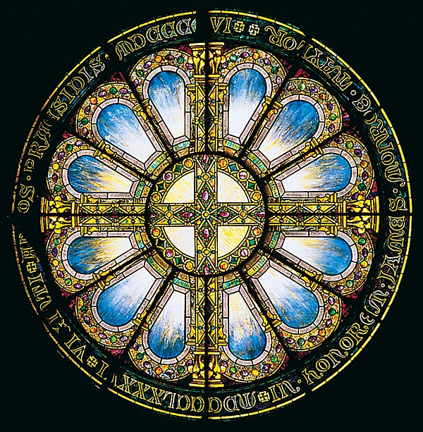 Louis Comfort Tiffany's Rose Window honors President James Monroe Taylor.