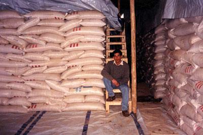 Sand in a flour warehouse