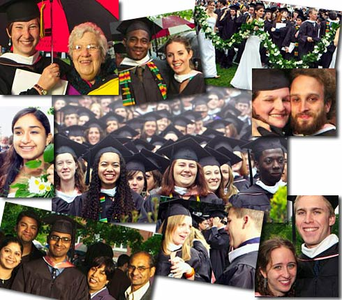 Photo collage of commencement celebrants