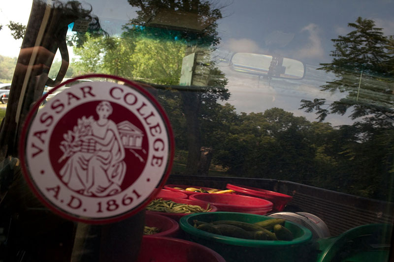 """Elliott pays homage to Vassar with a sticker on his truck. While a student at the college, he met several Vassar alumnae/i cum farmers who made the profession seem """"cool."""""""