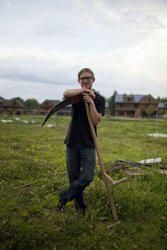 Todd Horner '07 just completed his second growing season as farmer at the Nubanusit Neighborhood and Farm in Peterborough, NH. The community's small ecological footprint is seen as a model for communities hoping to solve many of the planet's ills.