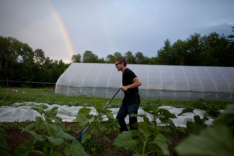 A double rainbow curves overhead as Horner finishes his last chore.