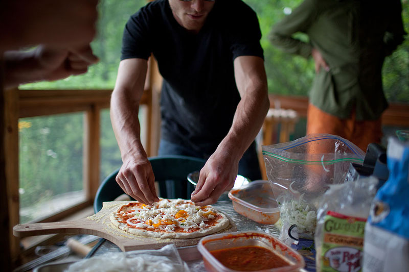 To add to the feast, Horner makes homemade pizza with tomatoes and yellow bell peppers he grew himself.