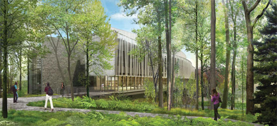 Architectural rendering of Integrated Science Building from east entrance.