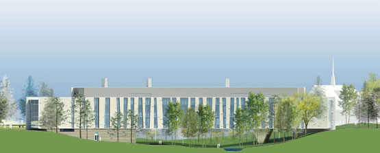 Architectural rendering of Integrated Science Building looking North