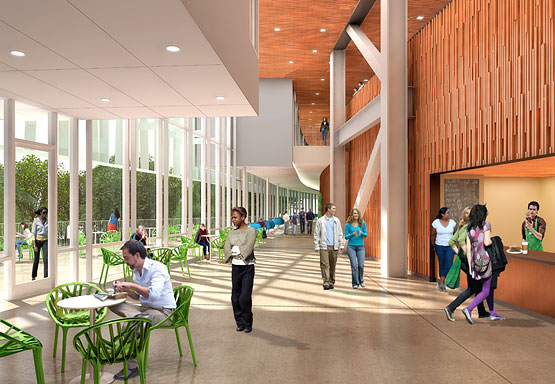 Architectural rendering of Integrated Science Building interior