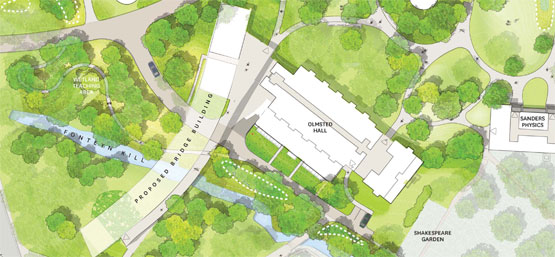 Architectural rendering of Integrated Science Building overhead view.