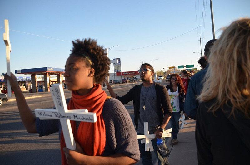 Participating in the weekly migrant vigil in Douglas, Arizona