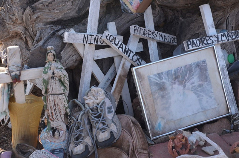 Shrine to migrants at the No More Deaths camp