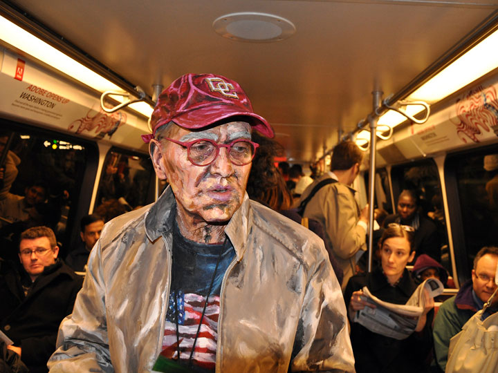 """Sometimes, Meade places her models into real-life contexts, such as a subway car. """"Transit."""""""
