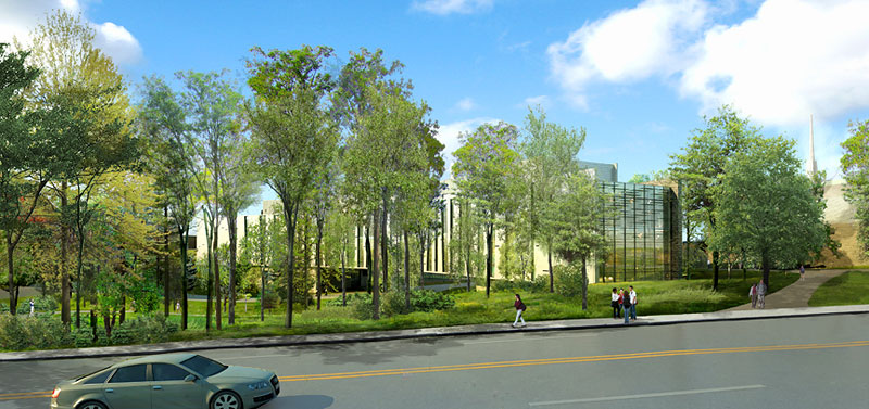 Architectural rendering of Integrated Science Building view from Raymond Ave.