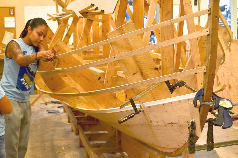 One of the group's most ambitious endeavors—building a 29-foot whaleboat reproduction.