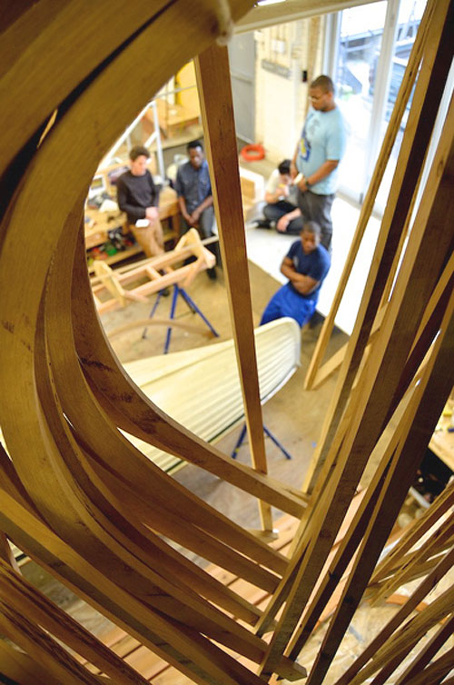 Rocking the Boat's spacious new 3,000 square-foot shop allows participants to work on three different boats at once.