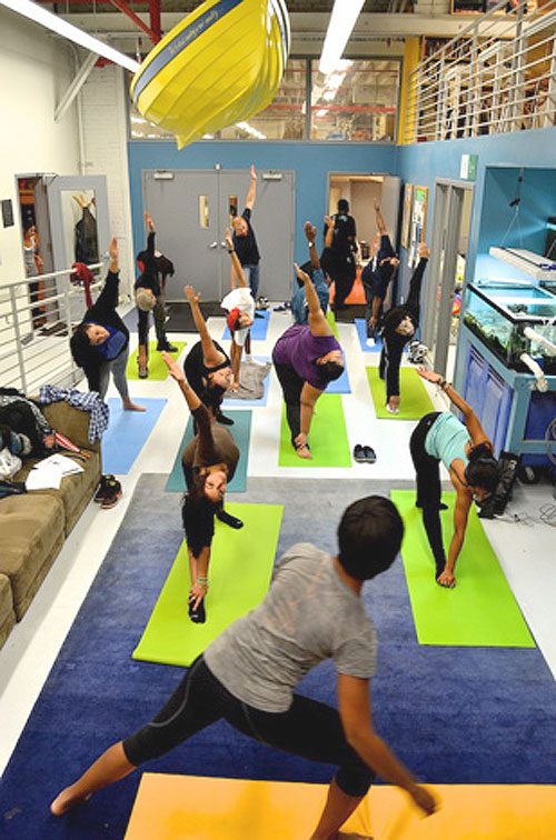 A yoga class at Rocking the Boat, which takes a holistic approach to improving the lives of youth in the Bronx.