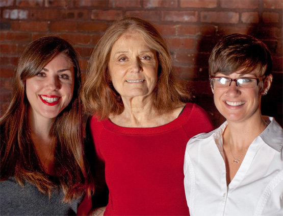 Gloria Steinem with Lauren Mulligan '15 and Elizabeth Schrock, campus coordinator, Sexual Assault Violence Prevention