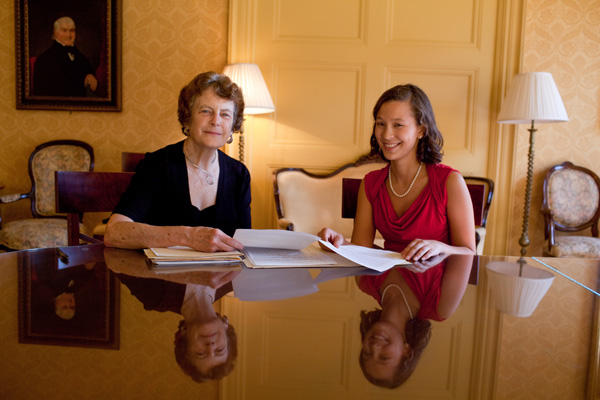 Interviewers Molly Shanley, professor of political science, and women's studies major Faren Tang '13.