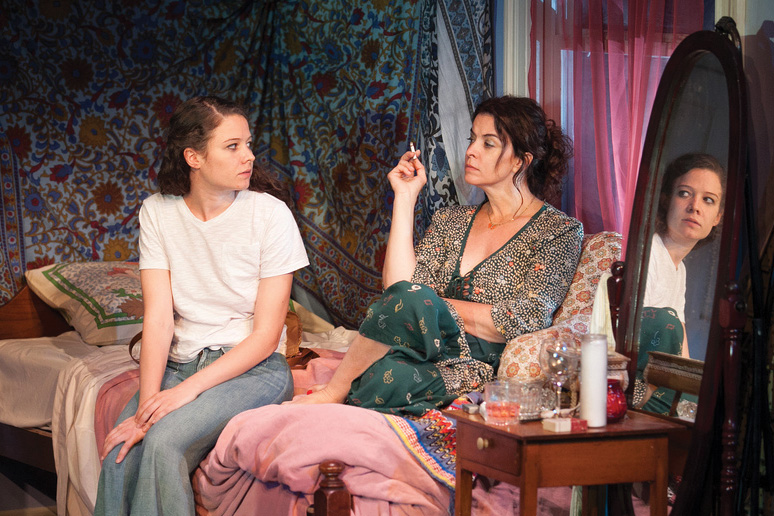 Molly Carden and Annabella Sciorra in the Powerhouse's Downtown Race Riot, by Seth Zvi-Rosenfeld, directed by Scott Elliott.