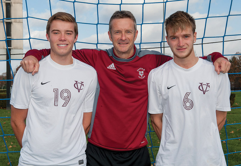 Coach Jennings with sons Stephen '17 (left) and Gavin '16