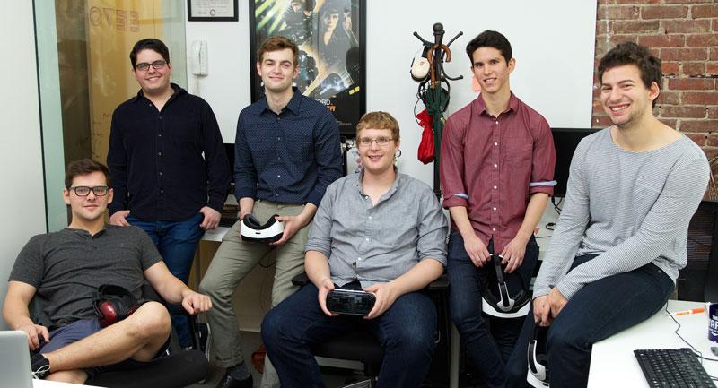 Members of the EEVO start-up team: Jake Adelgren '15, Patrick Mauro '13, Matt Griffiths '17, Casey Hancock '16, Alejandro Dinsmore '15, and Harris Gordon '15.