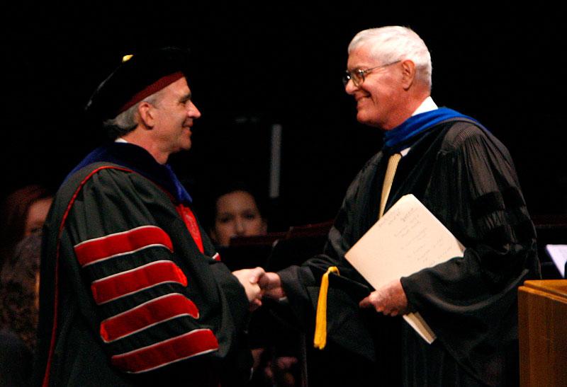 Seamus Carey '87, right, with Professor Emeritus Michael McCarthy