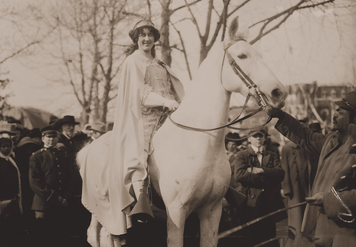 Inez Milholland (1909), who famously led a 1913 suffrage march on a white steed.